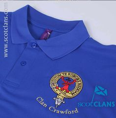 Luxury polo shirt with embroidered Crawford clan crest from ScotClans