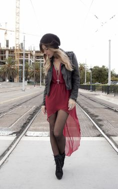 this dress is cute in every outfit she wears! 1. HAT, h    2. LEVI'S JACKET, vintage    3. LAYERED CROSS NECKLACE, bycelina    4. DRESS, love    5. BOOTS, yves saint laurent