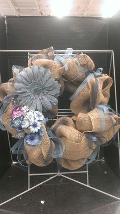 Burlap wreath with burlap denim flower look...Robin Evans