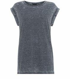 Grey Roll Sleeve Burnout Boyfriend T-Shirt