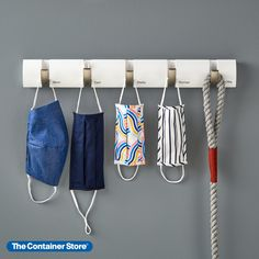 The sleek, contemporary silhouette of our Flip Hook Racks by Umbra adds a subtle sense of style to your organizational efforts. Flip down as many hooks as you need to hang up coats, jackets, caps, hats, umbrellas, towels, robes--even face masks! The hooks fold flat against the rack when not in use. Entryway Organization, Hook Rack, Container Store, Mom And Dad, Pattern, Patterns, Model, Entry Organization, Pattern Print