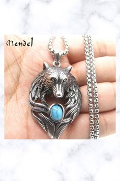Stainless Steel Turquoise Wolf Head Pendant Necklace