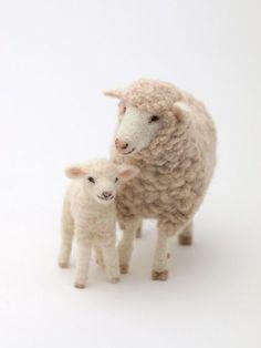 Needle-felted sheep