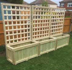 Details about wooden planters and trellis,hot tub screen delivery included depends on postcode Wooden Planters With Trellis, Cedar Trellis, Deck Planters, Garden Trellis, Deck Trellis Ideas, Deck Planter Boxes, Hot Tub Privacy, Privacy Planter, Privacy Panels