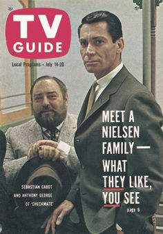 """TV Guide, July 14, 1962 - Sebastian Cabot and Anthony George of """"Checkmate"""""""