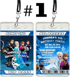 frozen birthday | Disney Frozen Movie Birthday Party Ticket VIP Pass Invitations Favor ...