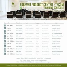 Forever Product Center - Tecom TRAINING SCHEDULE  May 2016