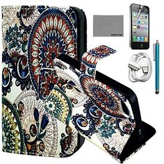 EUR € 11.51 - COCO FUN® Circle Floral Pattern PU Leather Case with Screen Protector and USB Cable and Stylus for iPhone 4/4S, Gratis Verzending voor alle Gadgets!