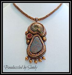 Firelight: A Bead Embroidered Pendant by beadazzledbysandy on Etsy