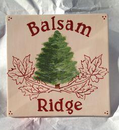 Painted pottery- tree farm logo in ME Balsam Ridge