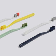 Hay Tann toothbrushes dark blue yellow green grey grey/fluro coral Manufactured by Jordan and designed by Andreas Engesvik, this toothbrush is a minimal design made from durable nylon and plastic. Blue Yellow, Green And Grey, Interior Concept, Minimal Design, Presentation Design, Industrial Design, Dental, Branding Design, Nice Things