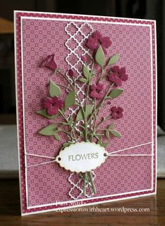 """By Pam Sparks. Uses Memory Box """"Bella Bouquet"""" and """"Fresh Foliage"""" dies."""