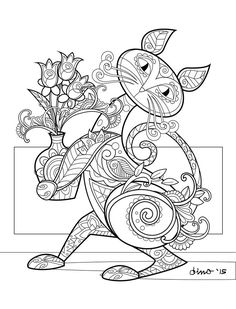 Cute Cat More Information Abstract Mandala Coloring Page For Adults Digital Download