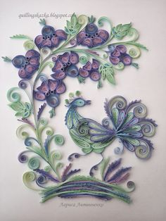 Gorgeous colorful quail? Quilled art