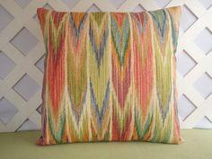 Ikat Outdoor Pillow Cover in Orange, Citron, Blue, Olive Handmade by JRsPillowsandBags on Etsy.