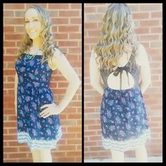 Navy and Pink Floral Dress