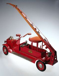 Large Red Metal Toy Fire Truck, 1940. Keystone Manufacturing Company.