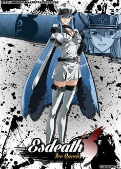 This HD wallpaper is about Esdeath Jee Queen wallpaper, Akame ga Kill!, one person, young adult, Original wallpaper dimensions is file size is Anime Character Names, Anime Characters, Character Art, Otaku Anime, Anime Manga, Anime Art, Dark Fantasy, Rosario Vampire Moka, Queens Wallpaper