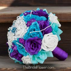 Royal purple and turquoise large bridal bouquet by TheBridalFlower, $135.00