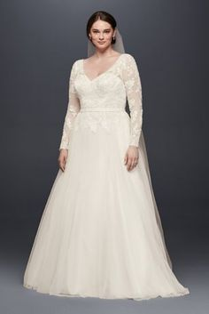 10756569 - Plus Size Long Sleeve Wedding Dress With Low Back