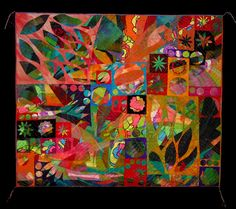 """MINOR FUGUE V by Sue Benner  is a fanciful work, composed of dyed and painted silks in garden hues.  I combined these wildly colored silks with """"found"""" fabrics of the 1960's.  The flower power cut-outs are the remains from other quilt series."""