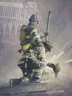 It looks like two firemen just found the helmet of a fallen comrade, & one is trying to comfort the other, while they're in the middle of Hell.