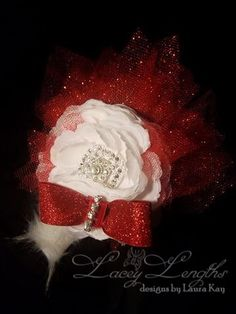 Red and White Glitz headband by LaceyLengths on Etsy