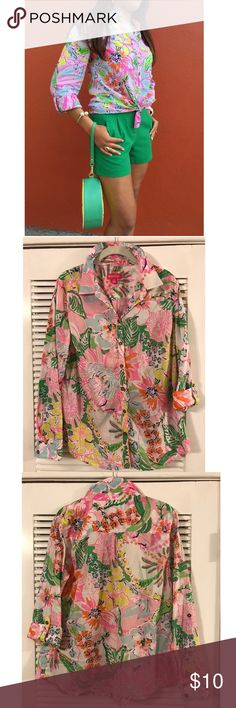 Lilly Pulitzer for Target Button down Lilly Pulitzer for Target Button Down in Nosie Posey Print! This is one of my all time fave Lilly Prints! Neon pinks, greens, and yellows contrast so well w pastel blues and pinks! Please make an offer 😎 Lilly Pulitzer for Target Tops Button Down Shirts