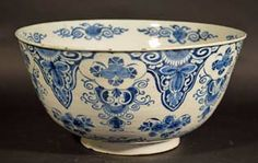 A Large English Delftware Punch Bowl, London or Bristol, Circa Blue And White China, Blue China, White Dishes, Blue Dishes, Glazes For Pottery, Chocolate Pots, White Decor, Delft, Earthenware