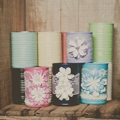 Painted tins can vases.  Wedding vase wedding by StyleJarsandCans, $35.00