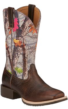 Ariat Hybrid Rancher Women's Wicker Brown with Hot Leaf Camo Top Square Toe Western Boots | Cavender's