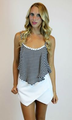 Wear it alone or layered under a blazer with some shorts* | Vamped Boutique - Flounce Striped Crop | Timing , $21.00 (http://vampedboutique.com/flounce-striped-crop-timing/)
