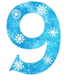 """9"" Free Frozen snowflake number"