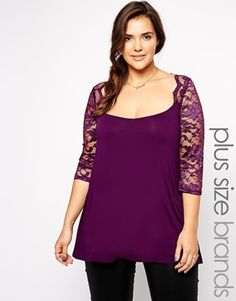 ASOS — New Look Inspire Lace Top in purple