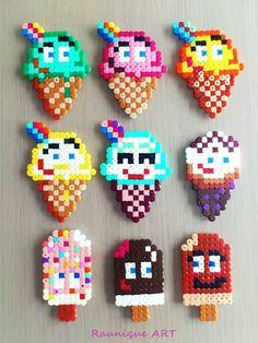 I mini perler-= øreringe Ice Cream Collection Hama beads by margarita Hama Beads Design, Diy Perler Beads, Perler Bead Art, Melty Bead Patterns, Pearler Bead Patterns, Beading Patterns, Art Perle, Pixel Beads, Fusion Beads