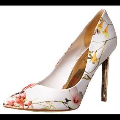 """New Ted Baker Pink Floral Heels Light pink floral court print, store display with minor scuffs on the bottom but no other signs of wear on the shoes. Ted Baker Euro size 39 is a US size 8. Has a 4"""" heel pump with rose gold tip on heel and on toe. Ted Baker Shoes Heels"""