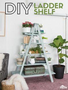 16 ideas for diy wood ladder shelf patio Ladder Shelf Decor, Diy Ladder, Wooden Ladder, Wooden Diy, House Ladder, Ladder Display, Ladder Bookshelf, Step Shelves, Diy Regal