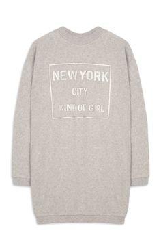 "Primark - Grauer, langer ""New York"" Pullover"