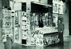 Brothers Umberto and Benito Panini at their newspaper kiosk in Corso Duomo, Modena, Italy 1940. (Photo source: Il Sole 24 Ore)