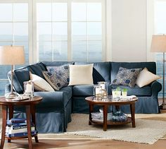 PB Comfort Roll Arm Slipcovered 3-Piece L-Shaped Sectional with Corner | Pottery Barn