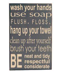 Gray Bathroom Rules Wall Art- need for the boys