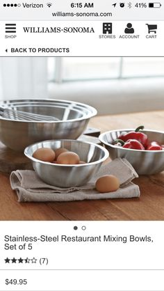Set of 5 stainless steal mixing bowls