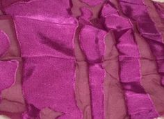 "Eggplant Stripes - Hand Dyed Burnout Devore Silk Satin (4""x26"")"