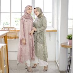 Image may contain: 2 people, people standing Kebaya Modern Hijab, Kebaya Hijab, Kebaya Muslim, Hijab Gown, Hijab Dress Party, Hijab Style Dress, Dress Muslim Modern, Muslim Dress, Kebaya Lace