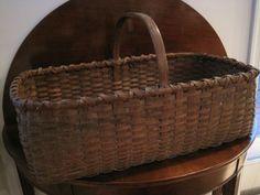 Antique 1800s New England Native American Woodlands Huge Black Ash Basket  North Bayshore Antiques