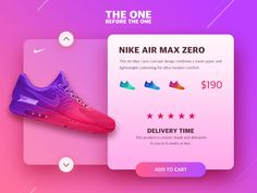Nike air max zero ecommerce shot from leima via Dribbble. We want the shoes so badly! Banner Design Inspiration, Web Design Inspiration, App Ui Design, Mobile App Design, Mobile Ui, Web Layout, Layout Design, Identity, Showcase Design