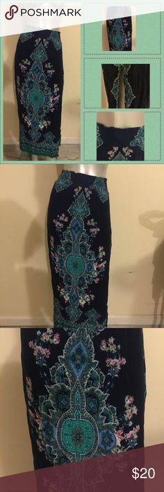 Navy Blue Maxi Skirt w/ Design Stretch waist and side slits Charlotte Russe Skirts Maxi