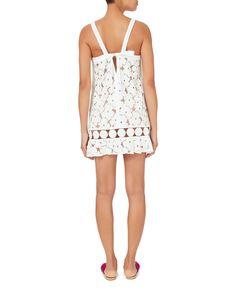 Adi Circle Trim Lace Mini Dress, WHITE, hi-res
