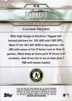 2016 Bowman Platinum - Platinum Presence Green #PP-28 Franklin Barreto Back