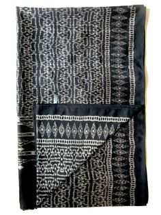 Silk Ikat textile in black and white